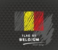 Bandiera del Belgio, illustrazione disegnata a mano di schizzo di vettore sul backgroud scuro di lerciume Fotografie Stock