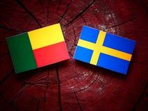 Bandiera del Benin con la bandiera dello svedese su un ceppo di albero immagine stock libera da diritti