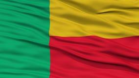 Bandiera del Benin del primo piano Fotografie Stock Libere da Diritti