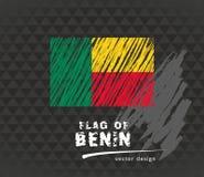 Bandiera del Benin, illustrazione disegnata a mano di schizzo di vettore sul fondo scuro di lerciume Illustrazione Vettoriale
