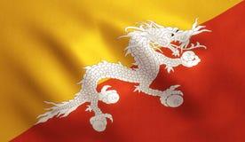 Bandiera del Bhutan Fotografia Stock