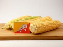 Bandiera del Bhutan su un pannello di legno con cereale isolato su una parte posteriore di bianco Fotografie Stock