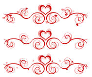 Bandiera del biglietto di S. Valentino - 3 disegni Fotografia Stock