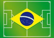 Bandiera del Brasile del campo di calcio Immagini Stock