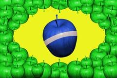 Bandiera del Brasile delle mele Fotografie Stock