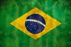 Bandiera del Brasile nell'effetto di lerciume Fotografia Stock Libera da Diritti