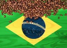 Bandiera del Brasile sui chicchi di legno di caffè e del fondo Immagine Stock