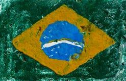 Bandiera del Brasile sul muro di cemento Immagini Stock Libere da Diritti