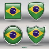 Bandiera del Brasile in una raccolta di 4 forme con il percorso di ritaglio Immagini Stock Libere da Diritti