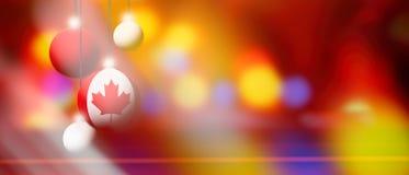 Bandiera del Canada sulla palla di Natale con fondo vago ed astratto Fotografia Stock Libera da Diritti