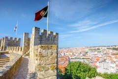 Bandiera del castello di Lisbona Fotografia Stock Libera da Diritti
