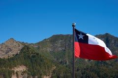Bandiera del Cile su Robinson Crusoe Island Immagine Stock Libera da Diritti