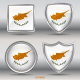 Bandiera del Cipro in una raccolta di 4 forme con il percorso di ritaglio Fotografia Stock Libera da Diritti