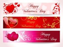 Bandiera del cuore dei tre biglietti di S. Valentino Fotografie Stock Libere da Diritti