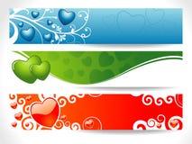 Bandiera del cuore dei tre biglietti di S. Valentino Fotografia Stock