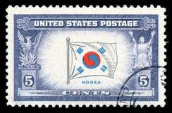 Bandiera del francobollo di U.S.A. della Corea Immagini Stock Libere da Diritti