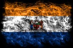 Bandiera del fumo della città di Albany, Stato di New York, Stati Uniti d'America fotografia stock libera da diritti