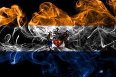 Bandiera del fumo della città di Albany, Stato di New York, Stati Uniti d'America immagini stock libere da diritti