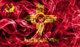 Bandiera del fumo della città di Albuquerque, stato del New Mexico, Stati Uniti di Immagini Stock