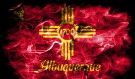 Bandiera del fumo della città di Albuquerque, stato del New Mexico, Stati Uniti di Immagine Stock Libera da Diritti