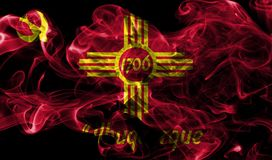 Bandiera del fumo della città di Albuquerque, stato del New Mexico, Stati Uniti di Fotografia Stock Libera da Diritti