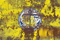 Bandiera del fumo della città di Anchorage, stato dell'Alaska, Stati Uniti di Americ Fotografia Stock Libera da Diritti