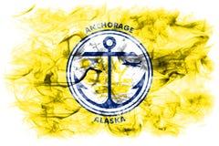Bandiera del fumo della città di Anchorage, stato dell'Alaska, Stati Uniti di Americ Immagine Stock