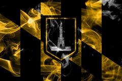 Bandiera del fumo della città di Baltimora, stato di Maryland, Stati Uniti di Amer Fotografie Stock Libere da Diritti