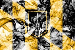Bandiera del fumo della città di Baltimora, stato di Maryland, Stati Uniti d'America immagini stock libere da diritti