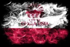 Bandiera del fumo della città di Chula Vista, stato di California, Stati Uniti di Fotografie Stock