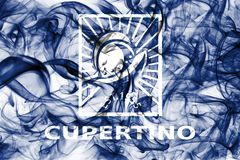 Bandiera del fumo della città di Cupertino, stato di California, Stati Uniti d'America Fotografia Stock