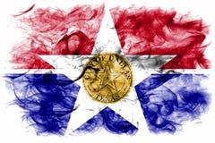 Bandiera del fumo della città di Dallas, stato di Illinois, Stati Uniti d'America fotografie stock