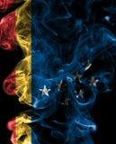 Bandiera del fumo della città di Durham, Carolina State del nord, Stati Uniti di A Fotografia Stock Libera da Diritti