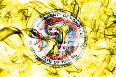 Bandiera del fumo della città di Honolulu, stato delle Hawai, Stati Uniti d'America Fotografia Stock Libera da Diritti