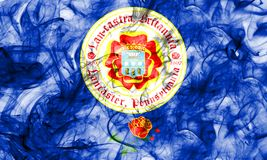 Bandiera del fumo della città di Lancaster, stato della Pensilvania, Stati Uniti di Immagine Stock Libera da Diritti