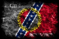 Bandiera del fumo della città di Montgomery, stato dell'Alabama, Stati Uniti di Amer Immagine Stock Libera da Diritti
