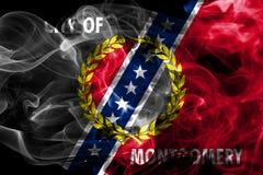 Bandiera del fumo della città di Montgomery, stato dell'Alabama, Stati Uniti di Amer Immagini Stock Libere da Diritti
