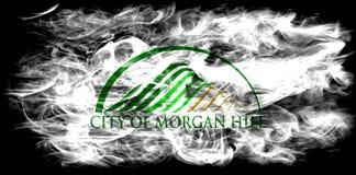 Bandiera del fumo della città di Morgan Hill, stato di California, Stati Uniti di Fotografia Stock Libera da Diritti