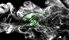 Bandiera del fumo della città di Morgan Hill, stato di California, Stati Uniti di Fotografia Stock
