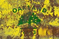Bandiera del fumo della città di Oakland, stato di California, Stati Uniti di Amer fotografia stock