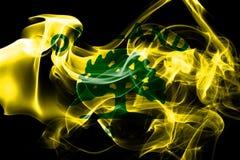 Bandiera del fumo della città di Oakland, stato di California, Stati Uniti di Amer royalty illustrazione gratis
