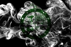 Bandiera del fumo della città di Pee Pee Township, stato dell'Ohio, Stati Uniti di A Immagine Stock Libera da Diritti
