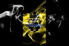 Bandiera del fumo della città di Pittsburgh, stato della Pensilvania, Stati Uniti di immagini stock libere da diritti