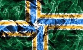 Bandiera del fumo della città di Portland, stato dell'Oregon, Stati Uniti d'America Fotografie Stock Libere da Diritti