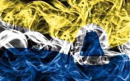 Bandiera del fumo della città di San Luis Obispo, stato di California, Stati Uniti Fotografia Stock