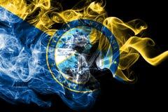 Bandiera del fumo della città di Santa Ana, stato di California, Stati Uniti d'America illustrazione di stock