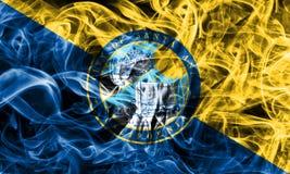 Bandiera del fumo della città di Santa Ana, stato di California, Stati Uniti dell' Immagini Stock