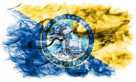Bandiera del fumo della città di Santa Ana, stato di California, Stati Uniti dell' Fotografia Stock