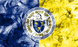 Bandiera del fumo della città di Trenton, stato del New Jersey, Stati Uniti di Amer Fotografia Stock