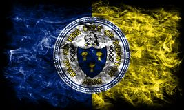 Bandiera del fumo della città di Trenton, stato del New Jersey, Stati Uniti di Amer Immagini Stock